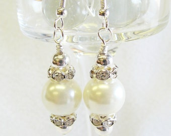 Sparkling Crystal and Pearl Earrings