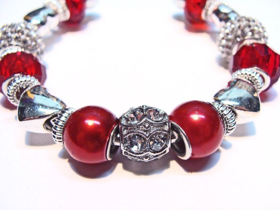 Red Cuff Bracelet with Hearts and Crystals