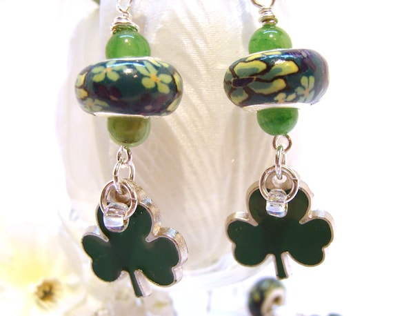 Luck of the Irish Dangle Earrings with Shamrocks and European Beads