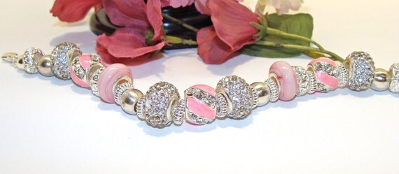 Gorgeous Pink and Crystal Bracelet with European Large Hole Beads