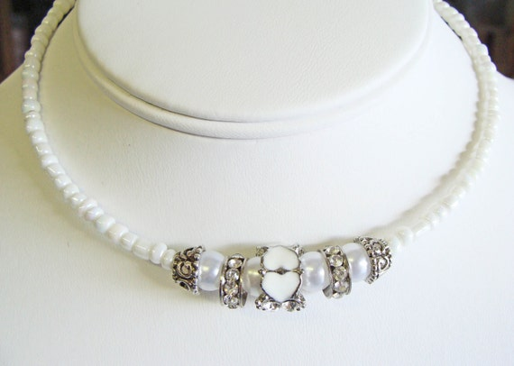 White Sweetheart Choker Necklace with Pearls and Crystals