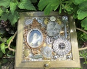 "Decorated Box ""Fragments of Life"" Mixed Media & Decoupage OOAK Original Steampunk"