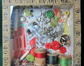 A Stitch In Time  Mixed Media Shadow Box Collage Assemblage Decoupage 6 x 6 Perspex Front OOAK