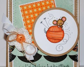 Handmade Knitting Mouse Greeting Card