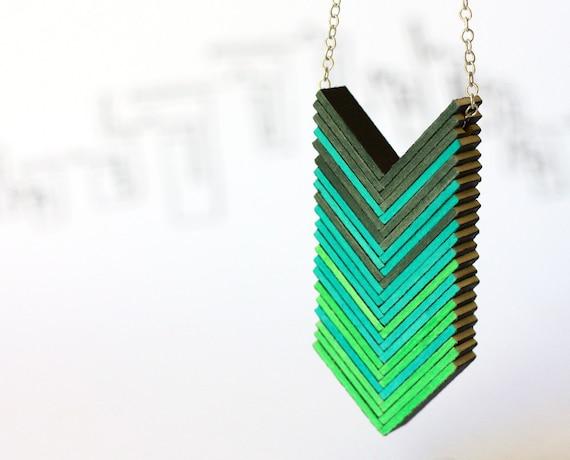 ombre emerald necklace - arrows necklace, green shadows