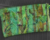 HAND PAINTED SILK Cosmetic Bag - Bamboo