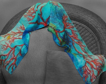 "Handpainted SILK Scarf -  Titled ""Coral Reef"""