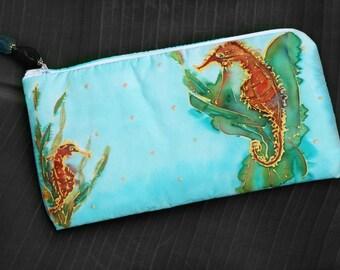 HANDPAINTED SILK COSMETIC Bag - Seahorse In Seaweed