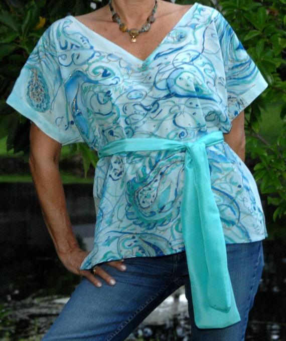 Handpainted Silk Charmeuse Belted Blouse