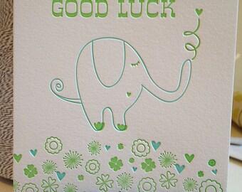 Letterpress Good Luck Card