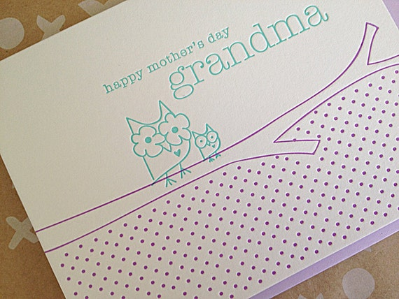 Mother's Day for Grandma card - Letterpress Mother's Day card