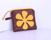 SALE SALE SALE ''''''Genuine Leather mini pouch , zippered ,a yellow leather flower appliqed on and inside  a tiny pocket