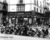 """5x7, Hand-Printed Black and White Silver Gelatin Print, """"Mopeds, Seville"""""""