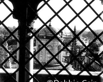 """5x7, Hand-Printed Black and White Silver Gelatin Print, """"View From Cathedral Window, Seville"""""""