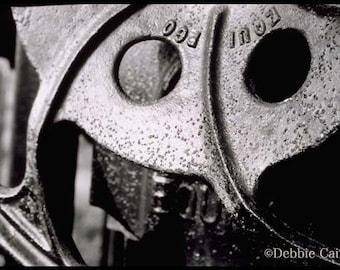 "11x14, Hand-Printed Black and White Silver Gelatin Print, ""Train Wheel No 1"""
