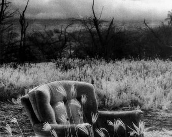 """11x14, Limited Edition, Hand-Printed Black and White Infrared Silver Gelatin Print, """"My Love Affair with a Chair No 2"""""""