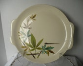 vintage Salem China Co Platter - green and brown Woodhue pattern - retro dining, serving chic