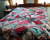 vintage Handmade Wool Patchwork Quilt - antique bedspread - reversible quilt - red plaid flannel - one of a kind heirloom