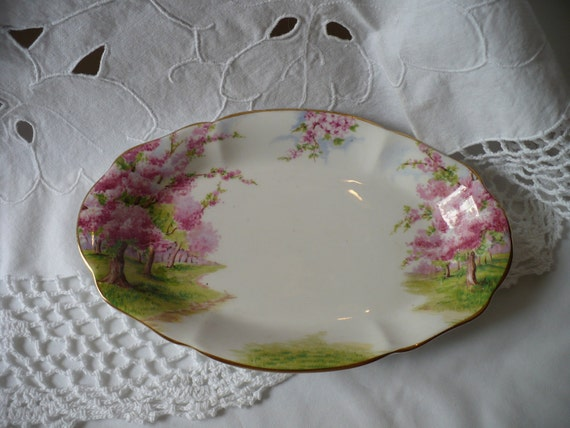 vintage Royal Albert bone china serving or trinket tray home decor chic