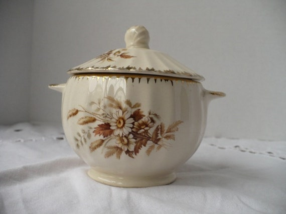 vintage china covered sugar bowl/candy dish bronze gold serving kitchen dining chic