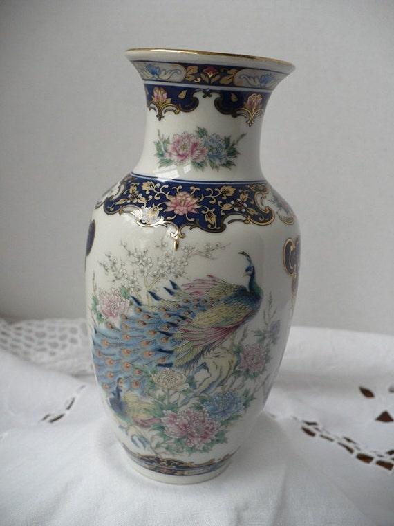 vintage Mogi Porcelain Peacock Vase - Urn - beautiful black gold white blue home office decor regency chic
