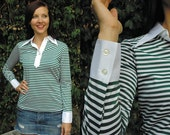 Awesome Vintage Green and White Striped Rugby/Preppy Style Shirt