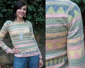 Cute Vintage Striped Sweater with Geometric Pattern