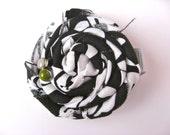 Large Twisted Flower Clip - Rosette Flower Clip - Black and White Flower Clip - Black and White Rosette Clip