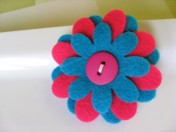 Felt Flower Clip - Hot Pink and Turquoise Flower Clip - Flower Clip - Flower Barrette