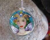 fairy enamel pendant by susan Knopp sterling cloisonee