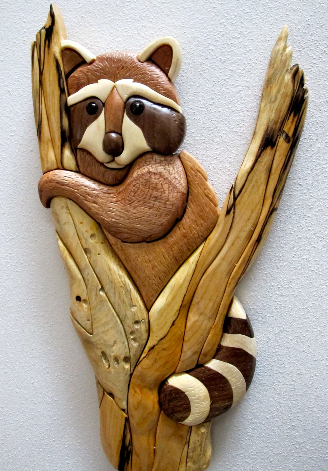 Intarsia Raccoon in Tree