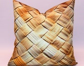 "Bamboo Thatch, Bamboo Fabric Throw Pillow - digital art print, decorative throw cushion, 20"" square pillow, contemporary pillow"