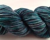Hand-dyed merino sock yarn, green, blue, grey