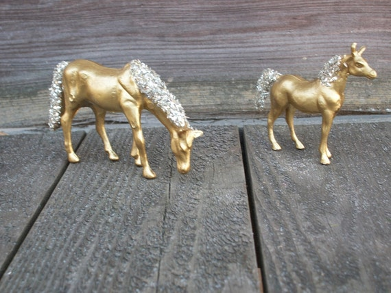 Pair of Gold, Metallic Glittered Horse Figurines