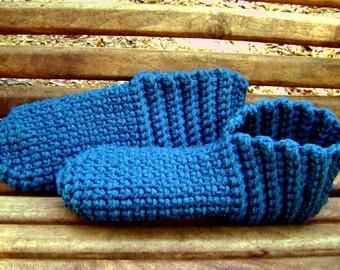 Crochet Booties Adult Slippers House Shoes Teal Men Women Teens