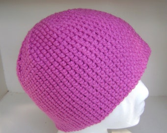 Crochet Hat  Beanie  Skullcap  Men  Women  Teen  Rosey Pink
