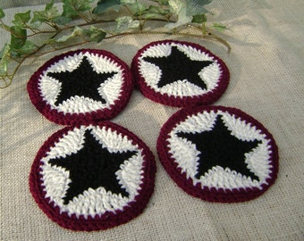 Crochet Coaster Set  Decoration  Burgundy With Black Star