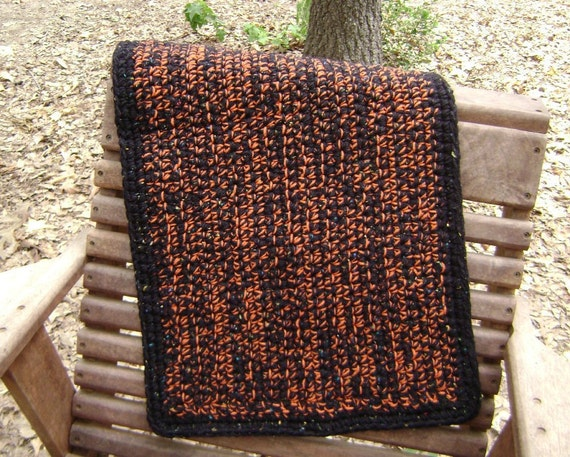 Crochet Throw Rug Fall Halloween Door Mat Rustic Country Decoration Orange and Black Fleck