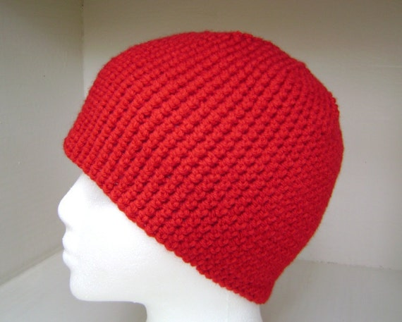 Crochet Hat  Beanie  Skullcap  Men  Women  Teen  Red