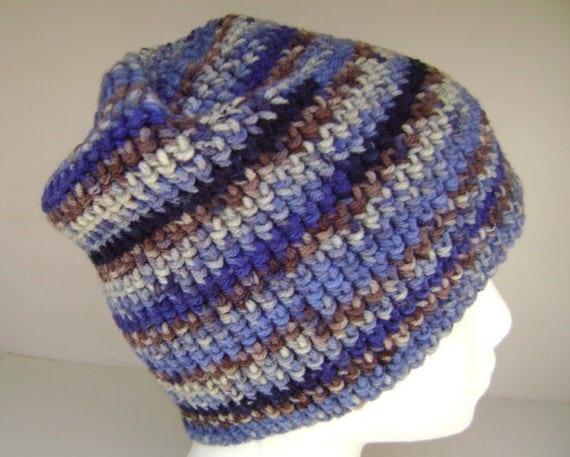 Crochet Hat Slouchy  Beanie Skullcap Men Women Teen  Blues