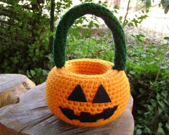 Crochet Pumpkin Basket Halloween Holiday Decoration Centerpiece Shelf Sitter