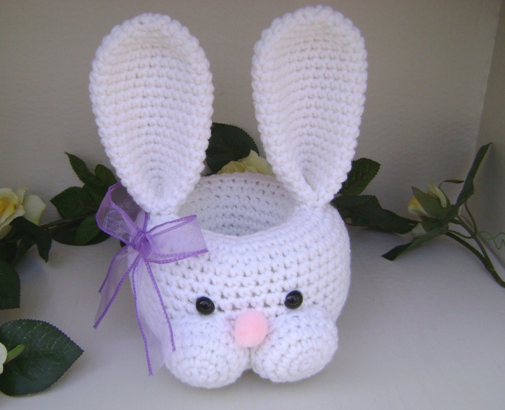 Crochet Bunny Basket Centerpiece Shelf Sitter Nursery Easter
