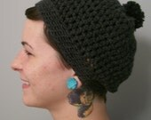 Washable Wool Puff Ball Cap: solid colors - Hand Crocheted