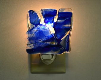 Blue on Clear Glass Night Light Clearance Item
