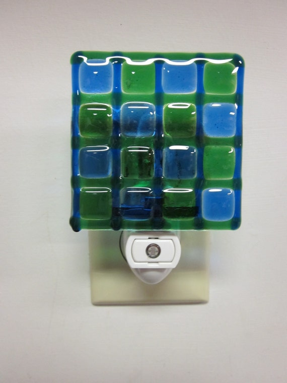 Blue and Green Squares Night Light