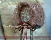 Vintage theme Professional Photography Prop. Knitted Bonnet Style New Born Hat, made of handspun, hand died Mohair Yarn.