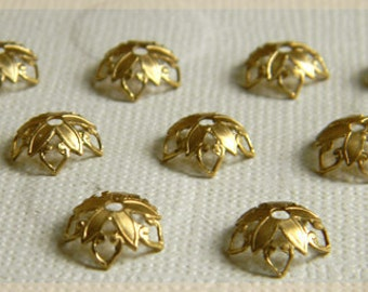 Raw Brass Bead Caps, Floral Bead Caps, Brass Filigree, 10mm - 12 pcs. (r166)