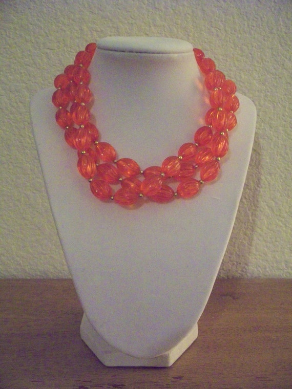Reserved for Patricia--Vintage Long Chunky Orange Bead Necklace