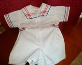 Vintage Boys Onepiece Sailor Outfit White with Red & Blue Trim