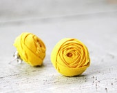 Mustard Yellow Rosette Ear Studs